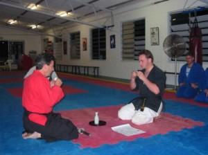 sensei beaux leeson nidan sakura hana ryu ju jitsu sake ceremony stafford dojo nov 2004