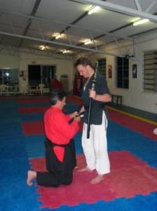 sensei beaux leeson nidan sakura hana ryu ju jitsu sword ceremony stafford dojo nov 2004