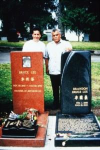 sensei doug with sijo demile at bruce and brandon new grave site seattle
